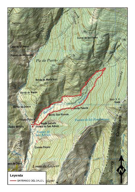 Mapa de la ruta Circular al Barranco del Calcil