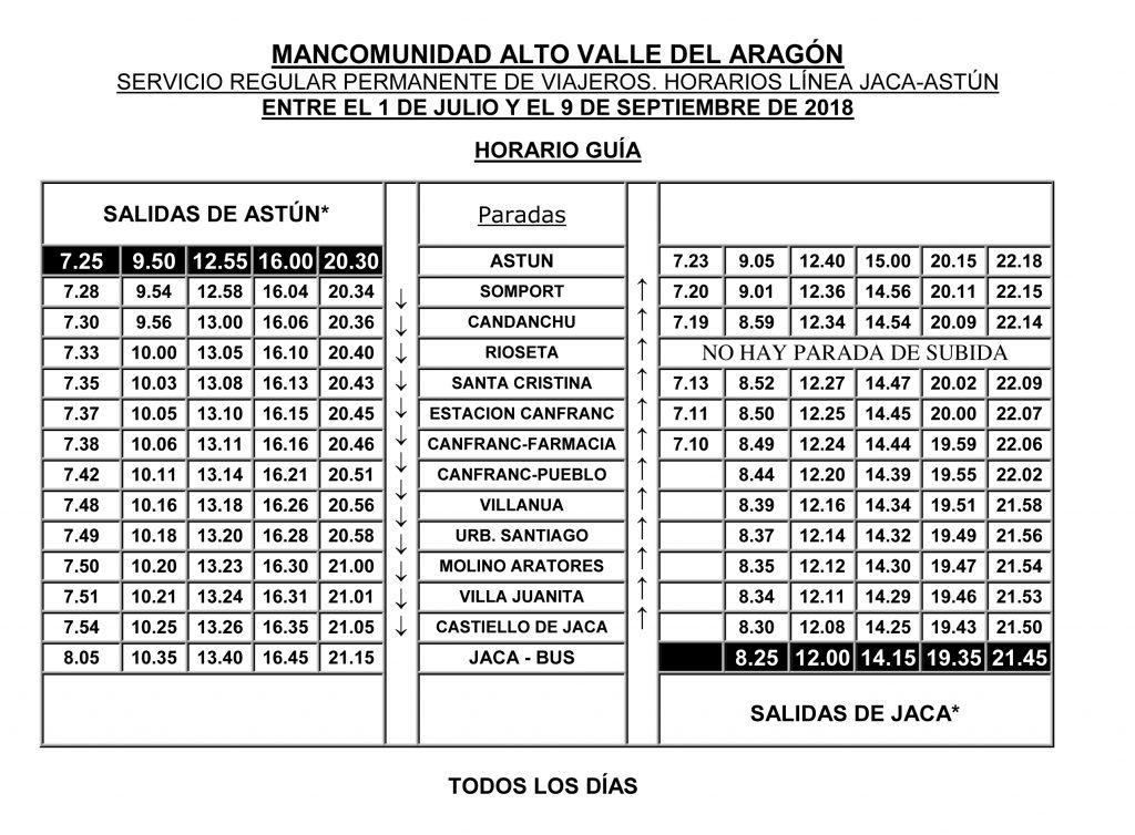 Jaca – Canfranc – Astún Horario del servicio regular permanente de viajeros, línea de autobús Jaca – Canfranc – Astún: